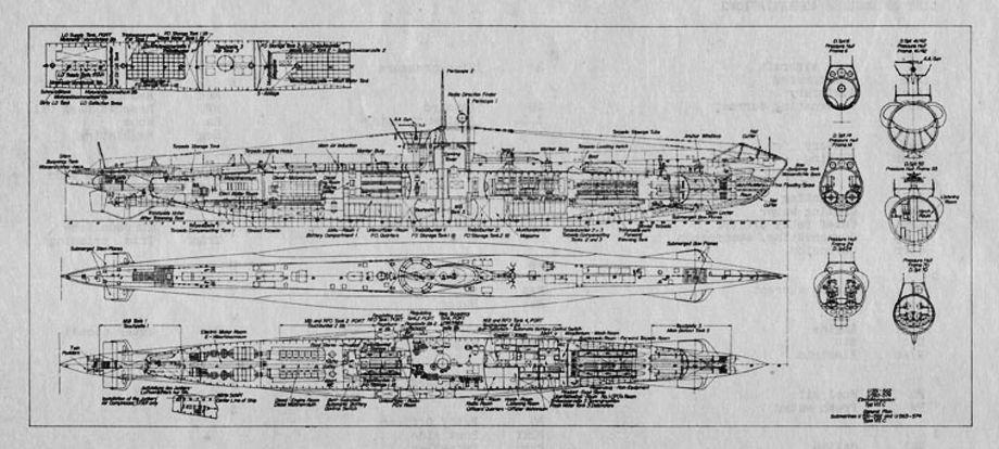 инженерный чертеж подводной немецкой лодки тип 7